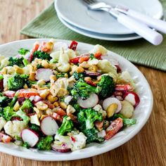 Barely Blanched Broccoli and Cauliflower Salad with Red Bell Pepper, Radishes, Red Onion, and Cashews [from Kalyn's Kitchen] #HealthyThanksgiving
