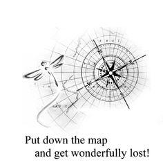 Tattoo idea; Map compass dragonfly