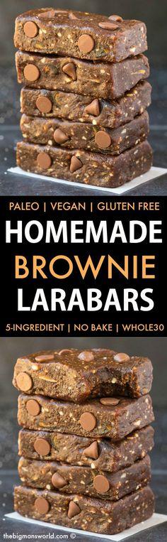 Homemade No Bake Brownie Larabars (Paleo, Vegan, Whole30, Refined Sugar Free)- Homemade copycat recipe for brownie larabars. 5 ingredients, 5 minutes and with a whole30 approved option! #whole30approved #whole30recipe #nobake #energybars | Recipe on thebigmansworld.com