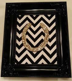 Framed Lucky Glitter Horse Shoe by LuckyPonyShop on Etsy, $80.00