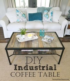 diy industrial coffee table #upcycle #makeover