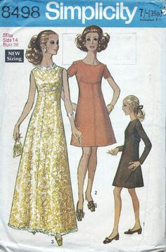 Simplicity 8498 dress sewing patterns, 60s dress pattern. Bust 36 inches. Full length or short dress. Long or short sleeves.. Miss Petites & Misses