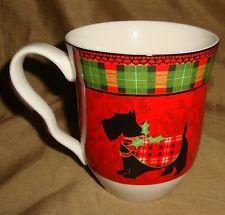 222 Fifth HOLIDAY Plaid CHRISTMAS SCOTTY Dog Scottish Terrier MUG NWOT