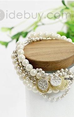 Luxurious Alloy Coins Ladys Fashion Pearls Bracelet