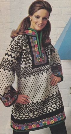 Norwegian dress close - I absolutely love this sweater dress. Nordic Pullover, Nordic Sweater, Vintage Knitting, Vintage Crochet, Folk Fashion, Vintage Fashion, Fair Isle Pullover, Norwegian Knitting, Fair Isle Knitting