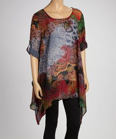 This Navy Jungle Sheer Sidetail Tunic - Women is perfect! #zulilyfinds