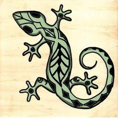 Glitter Side: Aztec Gecko
