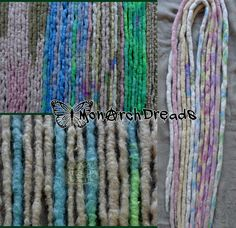 'Pastels'  Mixed up set of braided wool, lumpy and flat dreads with some lovely crocheted syn dreads with some iced mojoto tips.  The green wool dreads (second on the right) is made with wool which was hand dyed by Thecrafty Alaskan.