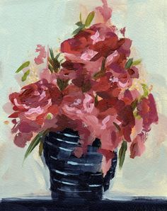 Flowers for Ines . large giclee digital art print of acrylic painting