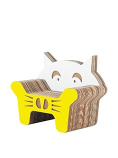 #Gatto is a corrugated cardboard armchair for kids, with cat shape and original and colorful design! #designforkids #cardboard #armchair