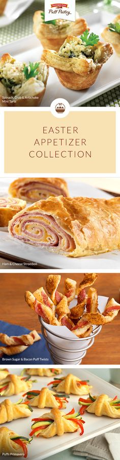 Pepperidge Farm Puff Pastry Easter Appetizer Recipe Collection Whether youre hosting Easter dinner or celebrating at a potluck this list is full of fabulous Easter appeti. Easter Appetizers, Finger Food Appetizers, Appetizers For Party, Appetizer Recipes, Finger Foods, Party Snacks, Easter Recipes, Holiday Recipes, Puff Pastry Recipes