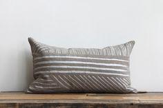 Karnataka pillow cover hand printed in metallic silver on extra fine organic French linen 12x21 lumbar