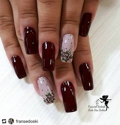 Ideas for nails dark pink art designs Gorgeous Nails, Love Nails, My Nails, Bride Nails, Trendy Nail Art, Dark Nails, Creative Nails, Swag Nails, Hair And Nails
