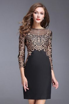 Chic O-Neck Long Sleeve Lace Embroidery Bodycon Dress - New Dress Lace Dresses, Trendy Dresses, Elegant Dresses, Vintage Dresses, Beautiful Dresses, Casual Dresses, Vintage Lace, Wedding Dresses, Wedding Vintage