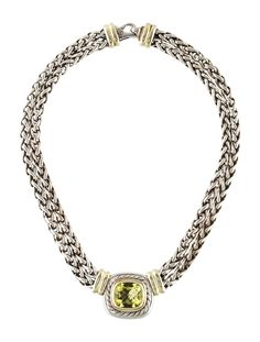 Sterling silver and 14K yellow gold David Yurman Albion pendant necklace featuring a faceted cushion quartz at fixed bezel set pendant, blackened espiga c