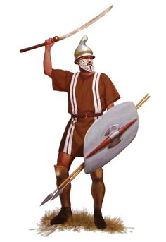 Thracian Warrior with a phyrigian helmet, a shield ( thereos ), and a pair of greaves. His weapons are a bundle of javelins, which upon charging, were thrown before the warriors switched to their secondary weapons - in this case the dangerous Rhomphaia.
