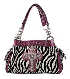 Zebra Print Gothic Cross Studded Handbag Purple « Clothing Impulse
