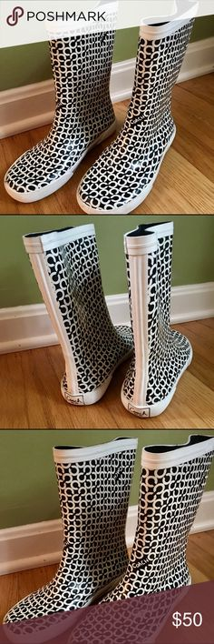 Coach Rain Boots! Like-new black & white Coach rain boots! Worn twice, no wear and tear. Size 7. Coach Shoes Winter & Rain Boots