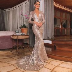 Mermaid Sexy Silver Backless Lone-Sleeves V-Neck Sequins Evening Dresses - Prom Dresses Design Party Gown Dress, Sexy Party Dress, Party Gowns, Sexy Dresses, Formal Dresses, Prom Party, Dress Prom, Wedding Dresses, Short Dresses