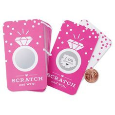Scratch-off Cards // Bridal Shower Game, Scratch-off Game, Bridal Shower Activity, Bachelorette Party Games // Fuchsia Pink My Bridal Shower, Bridal Shower Games, Bridal Showers, Bachelorette Dares, Bachelorette Party Games, Bachelorette Weekend, Scratch Off Tickets, Scratch Off Cards, Bingo Sheets