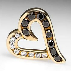 Black & White Diamond Heart Slide Pendant Solid 14K Gold /819