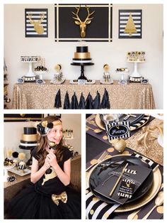 Planning a holiday party? Black and gold modern christmas party by Lillian Jope Designs via Kara's Party Ideas! I could change the colors to red, silver, and white. Grad Parties, Holiday Parties, Birthday Parties, Modern Christmas, Gold Christmas, Xmas, Black Gold Party, Golden Birthday, New Years Eve Party