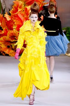 """""""Alice Through The Looking Glass"""" flower dresses by John Galliano for Christian Dior Couture Fall 2010 - Olga Sherer (NATHALIE)"""
