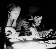 Lotte Reiniger at work in her studio--- 'Charlotte 'Lotte' Reiniger (1899 - 1991) was a German film director and the foremost pioneer of silhouette animation preceding Walt Disney by over a decade.  She also used her unique paper cut silhouette technique to illustrate  Roger Lancelyn Green's book, King Arthur and his Knights of the Round Table.'  JT (always in my own words)  Biographical Source: Wikipedia