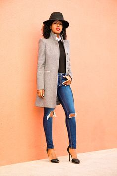 Structured Coat x Bodysuit x Ripped Jeans