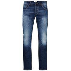 Jack & Jones Tim Original AM 012 Slim Fit Jeans ($50) ❤ liked on Polyvore featuring men's fashion, men's clothing, men's jeans, men, pants, azul, mens zipper jeans, mens jeans, mens flap pocket jeans and mens slim cut jeans