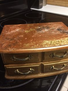 Faux leafing jewelry box. By Sandy Marie. Sold