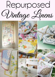 If you have a collection of Vintage Linens you will love this roundup of 15 Cute Ways to Repurpose and Upcycle Vintage Linens. (#9 is my favorite!) Included are a few vintage linen crafts and vintage linen home decor.