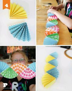 paper fan garland, I can see girls making these all summer! Must look for origami paper on sale. Origami Paper, Diy Paper, Paper Crafts, Origami Boxes, Dollar Origami, Origami Ball, Paper Rosettes, Paper Flowers, Origami Flowers