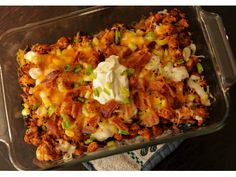 """Loaded Buffalo Chicken No-Tato Casserole - (S)   """"This dish is outrageously flavorful! . . . The first time I made it my husband kept saying, 'This can't be on the plan, how can this be on a diet plan?'"""" - Teresia  www.TrimHealthyMama.com"""
