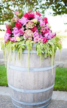 Altar Arrangement to go on top of wine barrels with flowers cascading down