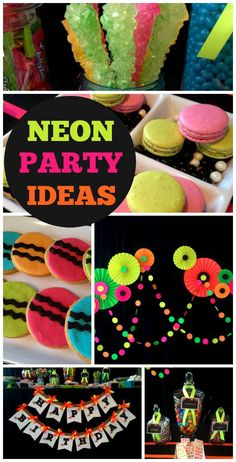 glow in the dark party featuring a neon treats dessert table and a paper rosette backdrop! See more party planning ideas at ! Neon Birthday, 13th Birthday Parties, Birthday Party For Teens, Sweet 16 Birthday, Girl Birthday, Birthday Ideas, Glow In Dark Party, Glow Stick Party, Glow Sticks