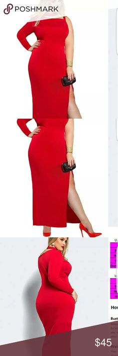 Plus size sexy red dress with a slit The dress has one sleeve and an extension collar to wrap around your neck. Then one arm is sleeveless and it has a slit on the right leg. The material is excellent it is a very well-made dress and it is very beautiful Dresses Maxi