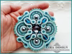 Soutache brooch teal tiffany and emerald with by mysweetcrochet