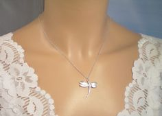Dragonfly Sterling Silver Necklace, Sterling Sliver Dragonfly, Origami Necklace
