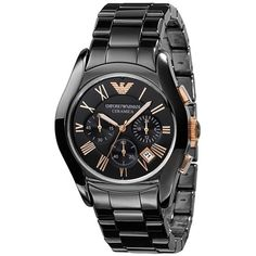 Armani Men's Black Ceramic Chronograph Watch ($480) ❤ liked on Polyvore featuring men's fashion, men's jewelry, men's watches, black, mens ceramic watches, mens watches, mens chronograph watches, mens watches jewelry and mens chronograph watch