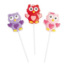 Frosted Valentine Owl Lollipops