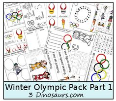Free Winter Olympics Pack Part 1 - Free Winter Olympics Pack Part 1 – Over 120 pages for ages 2 to 9 – Lots of Math and Language a - Kids Olympics, Summer Olympics, Olympic Idea, Olympic Games, Winter Fun, Winter Theme, Winter Activities, Preschool Activities, Vive Le Sport