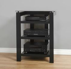 Plateau SL-4A B BG Wood and Glass Audio Stand in Black