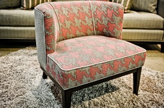 Customizable accent chair - LOVING the pink and grey houndstooth!