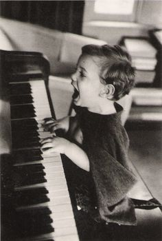 """The Joy of Music,"" Jacques Lowe. child, children boy playing piano singing loudly at top of his voice, black white photography Robert Doisneau, Cool Baby, Photocollage, Belle Photo, Black And White Photography, Cute Kids, Make Me Smile, In This Moment, Feelings"