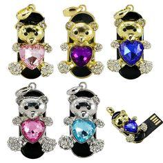 Usb Flash Drive 64GB Hot Sale Diamond Heart Bear Usb Pendrive 16GB 32GB 64GB Jewelry Pen Drive Pendriver Necklace Gift   iLuvHearts