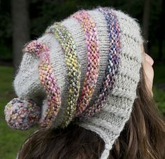 "Free on Ravelry. ""Aunt Ninny switched out the cheesy acrylic for two skeins of Paloma, Debbie Bliss' luscious alpaca and merino chainette yarn, and knit the four stripes in three different colors of Knitting Fever Bubbles (about 13 yards per stripe). A single skein of one color would work, too, or you could substitute any ..."