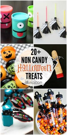 Whether you're participating in the Teal Pumpkin Project, need to fill a few Halloween goodie bags, or just want to have a few extra options for your trick-or-treaters, Li'l Luna has a great list of 20 Non-Candy Halloween Treats for you to check out. Halloween Snacks, Bonbon Halloween, Halloween Goodie Bags, Fröhliches Halloween, Halloween School Treats, Halloween Favors, Halloween Goodies, Toddler Halloween, Halloween Birthday