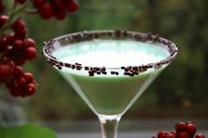 White Chocolate Mint-tini  (1oz Creme de Menthe  1oz Godiva White Chocolate Liqueur  1oz Vanilla Vodka  Chocolate Sprinkles)