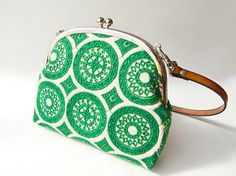 Double Frame Embroidered Green Circle Bag by humoresque